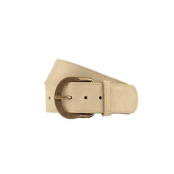 Wide Taupe Women's Belt With Vintage Buckle
