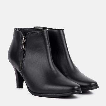 Cleo black leather kitten heel boot