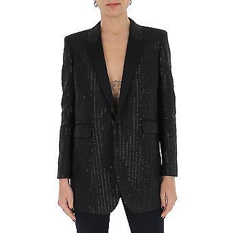 Saint Laurent 619441y6a711002 Women's Black Cotton Blazer