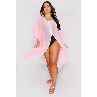 Kaftan tressy long sleeve sheer dress cover-up in pink