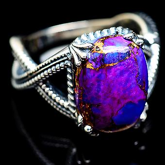 Purple Copper Composite Turquoise Ring Size 7.5 (925 Sterling Silver)  - Handmade Boho Vintage Jewelry RING2626