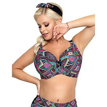 Nessa Women's Fiori Black Multicolour Aztec Padded Underwired Bikini Top