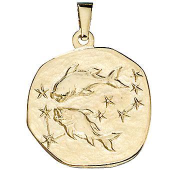 Ladies Pendant Zodiac Fish 333 Gold Yellow Gold Zodiac Pendant