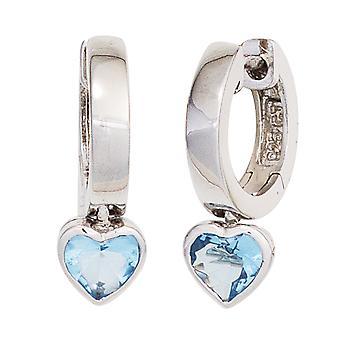 أطفال طوق الأقراط القلب 925 الفضة الاسترليني 2 مكعب zirconia الأقراط الزرقاء أقراط الأطفال