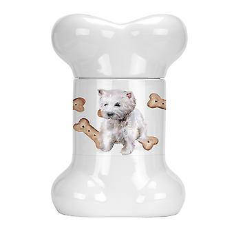 Carolines Treasures  CK2281BSTJ Westie Bone Shaped Treat Jar