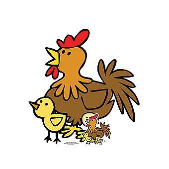 Cute Chicken z piskląt Farmyard Zwierząt Tektura Wycięcie / Standee