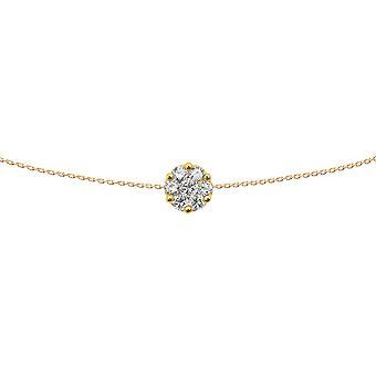 Choker Flower Diamonds Cluster et 18K Gold - Or Jaune