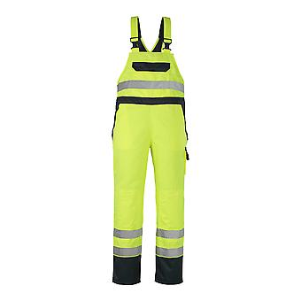 Mascot wels hi-vis bib-brace waterproof-trousers 07092-880 - safe image, mens