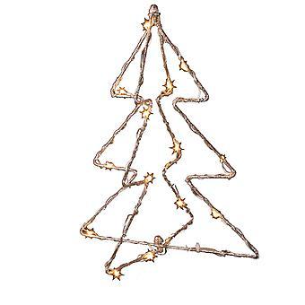 Jandei Boże Narodzenie Dekoracyjne światło różne kształty z bateriami Choinka Led Złoty drut 30cm 15 Led Soczewica 3000K 3X Baterie AA