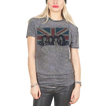 Queen T Shirt Vintage Union Jack Official Womens New Grey Skinny Fit Burnout