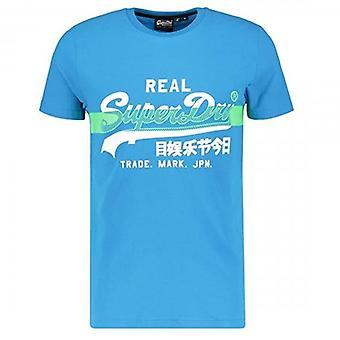 Superdry VL Cross Hatch T-Shirt Bleu Électrique 89G