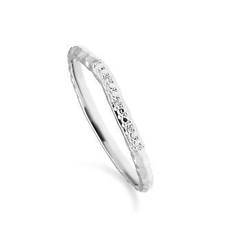 Diamant-Pave gehämmert Band Ring in 9ct Weißgold 162R0396019