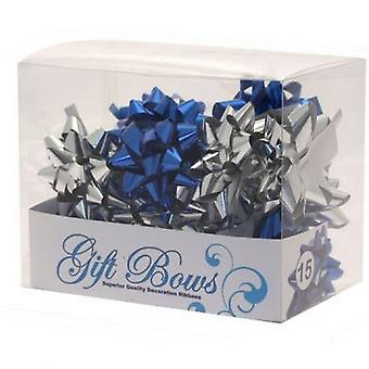 Apac Metallic Galaxy Blue And Silver Gift Bows (Pack Of 15)