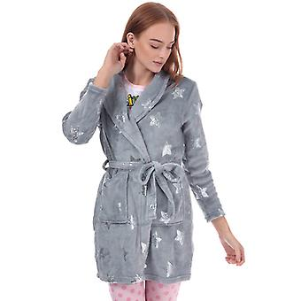 Women's Brave Soul Sequin Star Print Dressing Gown in Grey