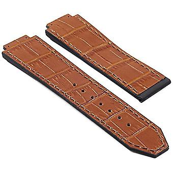 Watch strap made by strapsco for hublot big bang crocodile embossed tan leather and rubber 25mm
