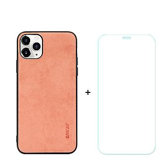 Voor iPhone 11 Pro Max Case Fabric Textuur Oranje Gehard glas Screen Protector