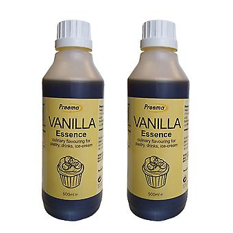 2 x 500ml Vanilla Essence Baking Flavour Concentrate Cakes Pastry Drink Biscuits