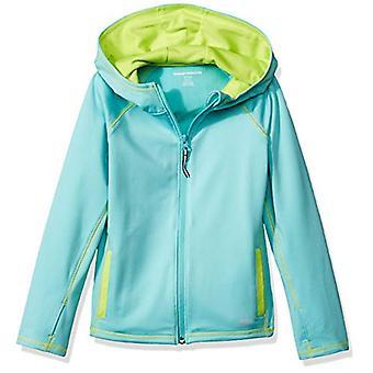 Essentials Girls' Full-Zip Active Jacket, Aqua, L (10)
