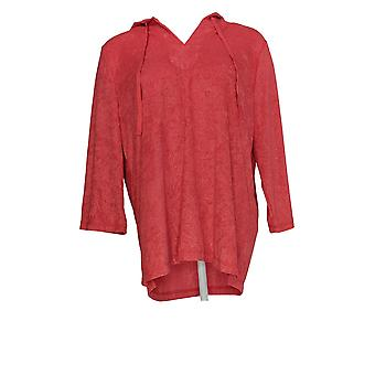 Carole Hochman Women's Pyjama Top Embossed Floral Baby Terry Red A373458