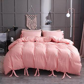 Simple Solid Color Duvet Cover Set Nordic Lace Up Pillowcase Quilt Cover No Bed Sheet