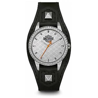 Harley Davidson Women's Shaped Cuff | Black Leather Strap | Silver Dial 76L183 Watch