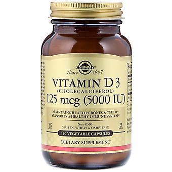 Solgar, Vitamina D3 (Cholecalciferol), 125 mcg (5000 UI), 120 Cápsulas Vegetales