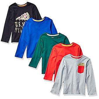 Brand - Spotted Zebra Boy's 5-Pack Long-Sleeve T-Shirts, Pizza and Fri...