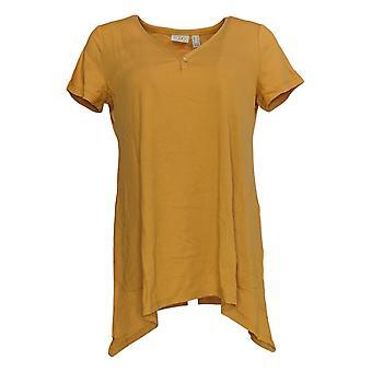 LOGO by Lori Goldstein Women's Top Knit V-Neck W/ Pockets Yellow A344876