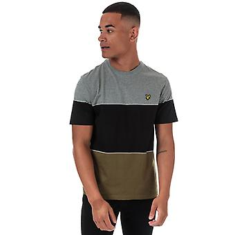 Men's Lyle And Scott Wide Multi Stripe T-Shirt in Green