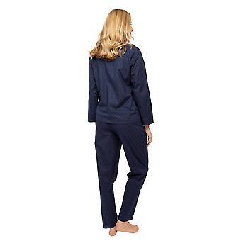 Cyberjammies Nora Rose Scarlett 1441 Naiset's Navy Blue Clip Jacquard Pyjama Set