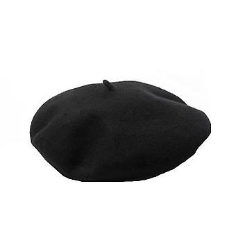 Klassische Baskenmütze aus Wolle, unisex - Schwarz
