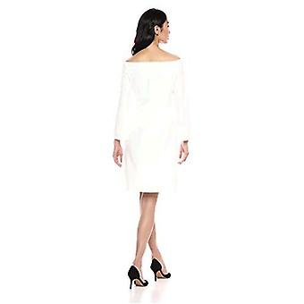 Lark & Ro Women's Long Sleeve Off the Shoulder Fit and Flare Dress, White, 2