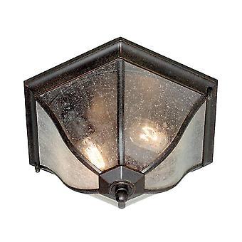 2 Lichte Medium Outdoor Flush Plafondlantaarn Verweerde Bronzen IP44, E27