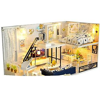 Miniature House With Furniture, Led, Music, Dust Cover, Model - Building Blocks