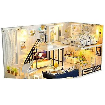 בית מיניאטורי עם ריהוט, לד, מוסיקה, כיסוי אבק, דגם - אבני בניין