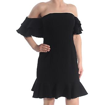 Rachel Zoe | Black Ruffle Hem Off Shoulder Cocktail Dress