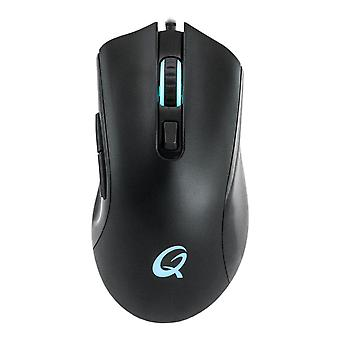 QPad 12000dpi ゲーム マウス、RGB ライティング USB 編組ケーブル 1.8m ブラック DX-120