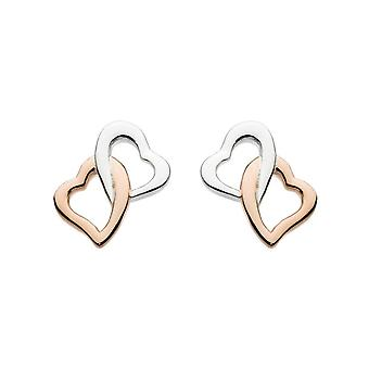 Dew Silver Interlinking Hearts Rose Gold Plate Earrings 4868HP013
