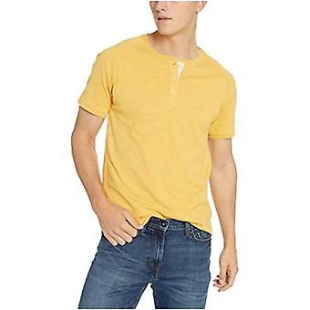 Goodthreads Men's Short-Sleeve Lightweight Slub Henley, gold, Large