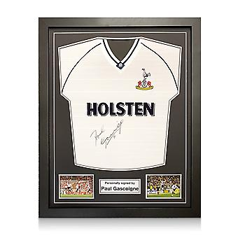Paul Gascoigne Signed Spurs 91 FA Cup Semi Final Shirt. Standard Frame