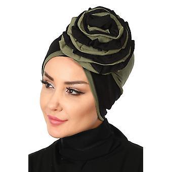 Clara - Hijab de turbante de algodão com detalhe rosa