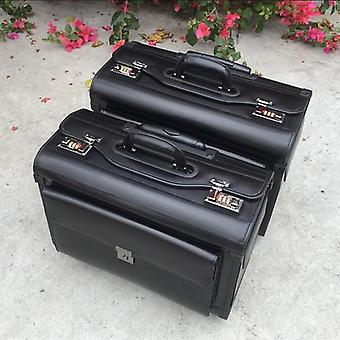 Genuine Cow Leather Airline  Pilot Trolley Luggage Cabin Suitcase Bag