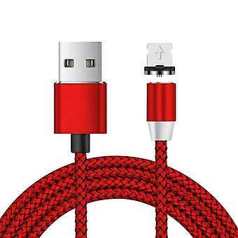 USB naar 8 Pin Magnetic Metal Connector Nylon Two-color Gevlochten magnetische datakabel, kabellengte: 1 m (rood)