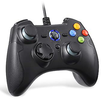 Easysmx esm-9100-black wired pc game controller joystick dual-vibration turbo trigger buttons window