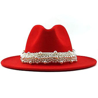 Wool Jazz Fedora Hats Casual Men Women Leather Pearl Ribbon Felt Panama Trilby