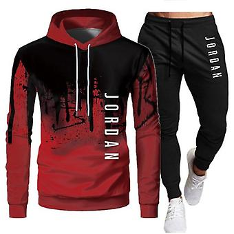 Autumn Casual Tracksuit Mens Set Sports Patchwork Hoodie Pant