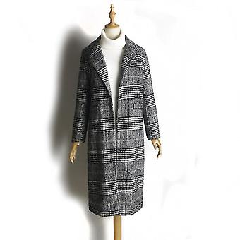Fashion Plaid Classics Loose Long Single Breasted Coats Autumn/winter Jackets