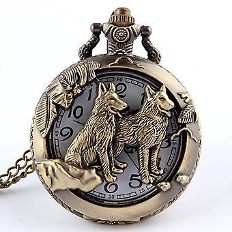 Retro Dog Wolf Comunismul Sickle Hammer Insigne Pocket Watch Colier Vintage