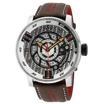 GV2 Motorcycle Mens Silver Dial Black Calfskin Leather Watch