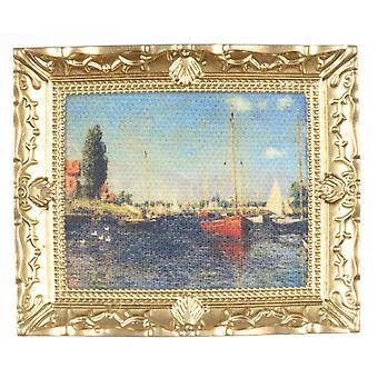 Nuket Talo Miniatyyri Monet vaikutelmia merikuva maalaus kulta kehys